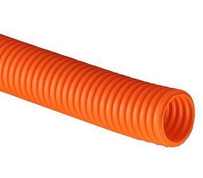 ДКС Труба ПНД гибкая гофр. д.32мм, тяжёлая с протяжкой, 25м, цвет оранжевый